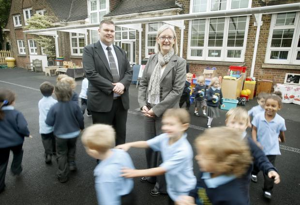 Times Series: Councillor Reuben Thompstone (left) would rather see expansions such as the one at Martin Primary (pictured) than an increase in class sizes