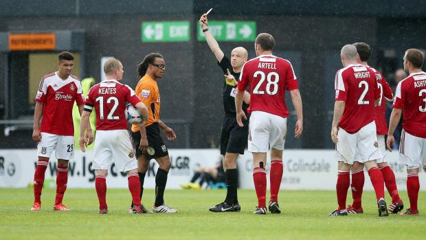 Edgar Davids was sent off against Wrexham. Picture: Action Images