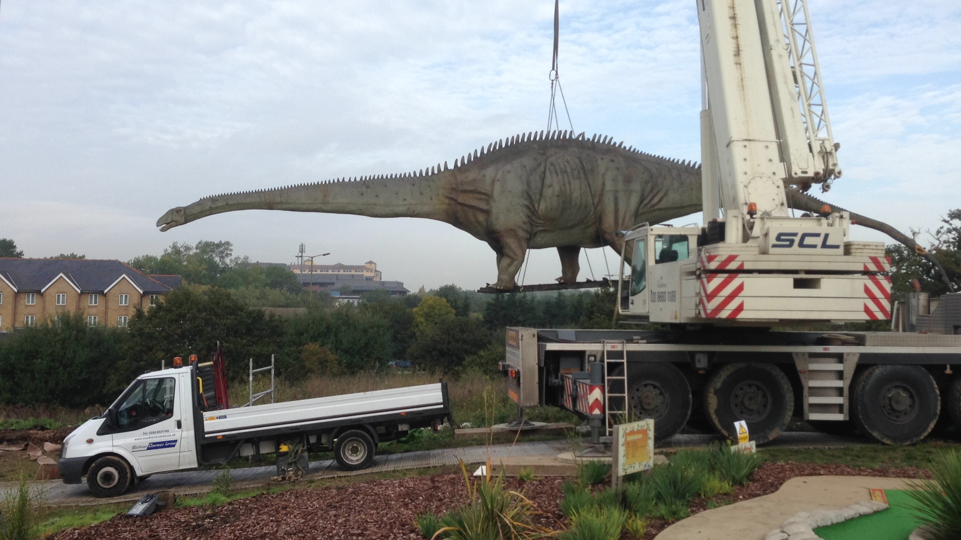 Giant operation to move 100-foot dinosaur takes place
