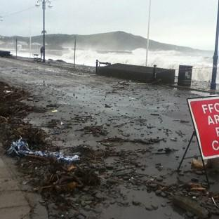 The seafront at Aberystwyth, Ceredigion, has been battered by the elements