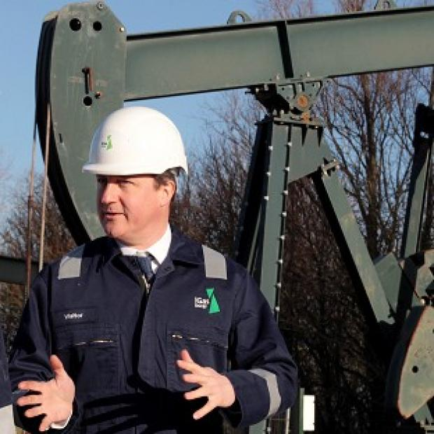 Times Series: Prime Minister David Cameron visited the IGas shale drilling plant oil depot near Gainsborough, Lincolnshire, on Monday