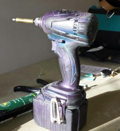 Mr Boxall's Makita tools were all sprayed with purple security paint