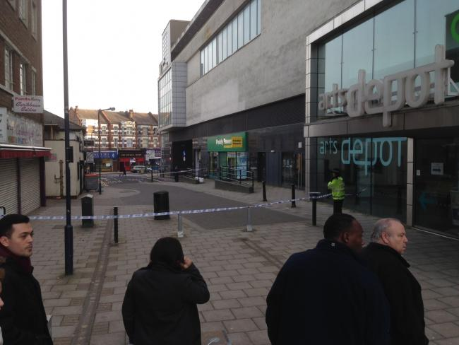 A cordon that remained in place outside the Artsdepot this afternoon was linked to the investigation, police said