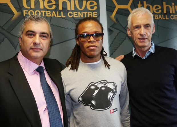 Tony Kleanthous and Edgar Davids at the Dutchman's unveiling 15 months ago. Picture: Action Images