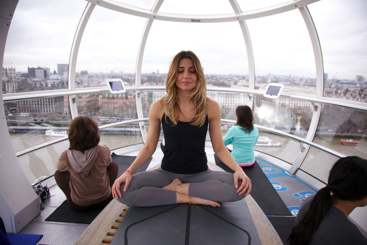 Yoga teacher Danai Kougiouli led the sessions on the London Eye as part of the Lift London event.