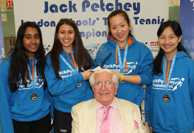 The winning team with Jack Petchey, founder of the foundation supporting the event