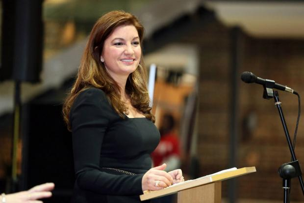 Karren Brady speaking at Middlesex University in Hendon.