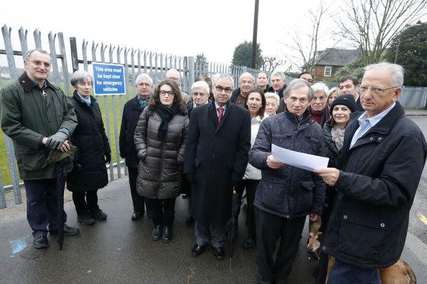 Residents opposing the plans with Cllr Jack Cohen, who came to hear their concerns