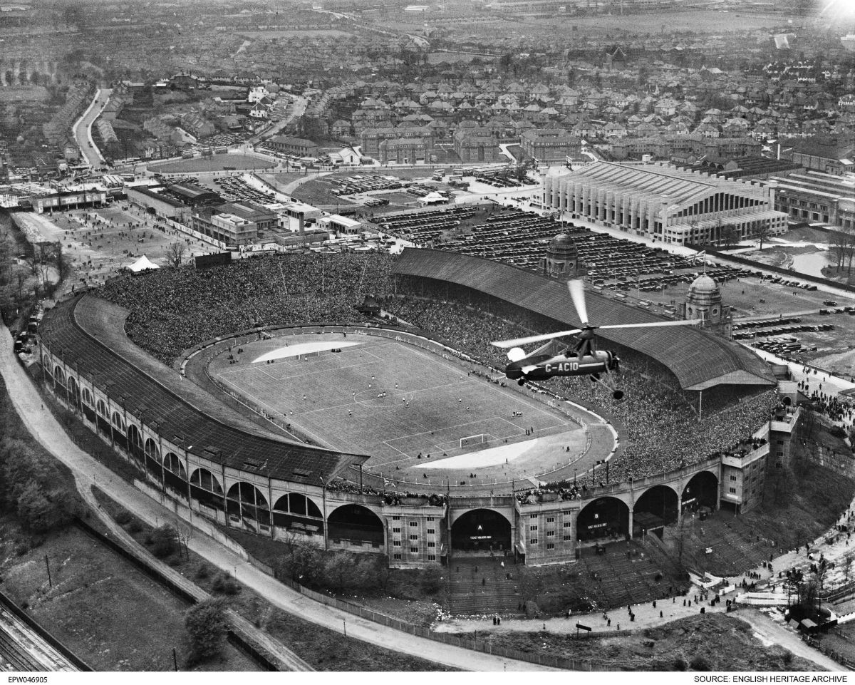 The FA Cup Final at Wembley Stadium in Wembley Park on April 27, 1935. (© English Heritage. Aerofilms Collection)