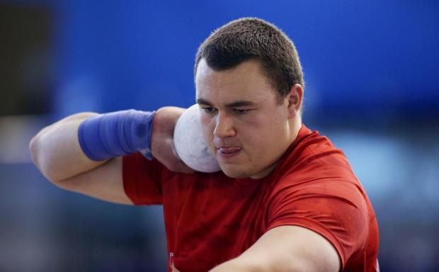 Zane Duquemin took top spot in the shot put. Picture: Action Images