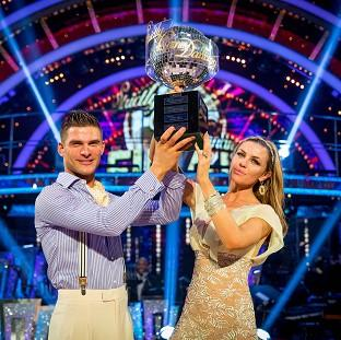 Abbey Clancy with her dance partner Aljaz Skorjanec after they were crowned Strictly Come Dancing champions.