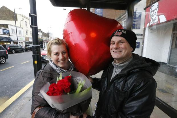 Robert West with his Valentine, Saskia Richardson.