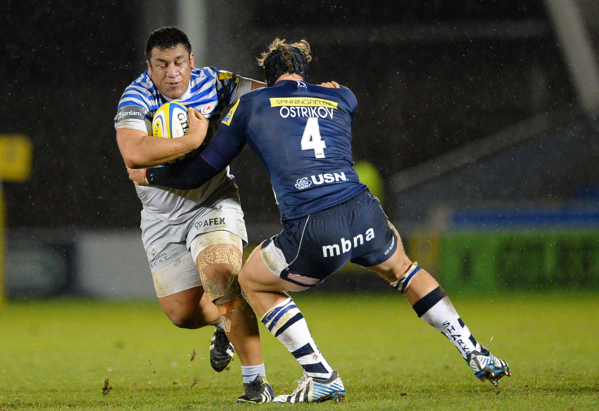 Saracens' Mako Vunipola in action with Sale Sharks' Andrei Ostrikov. Picture: Action Images