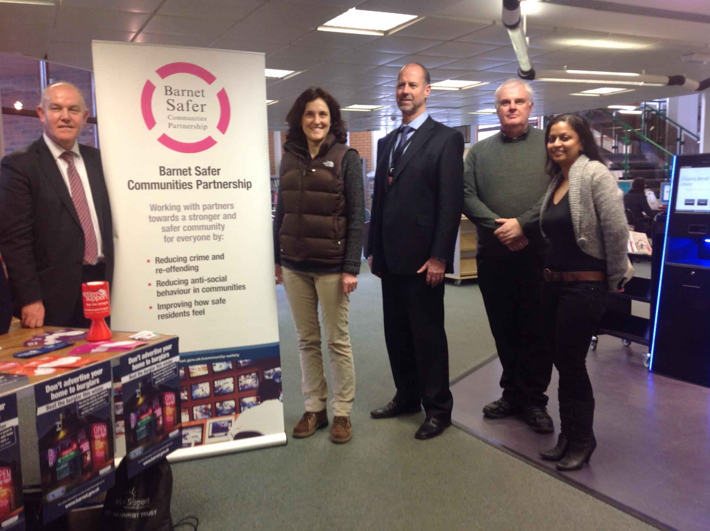 MP Theresa Villiers at the police roadshow in Chipping Barnet Library