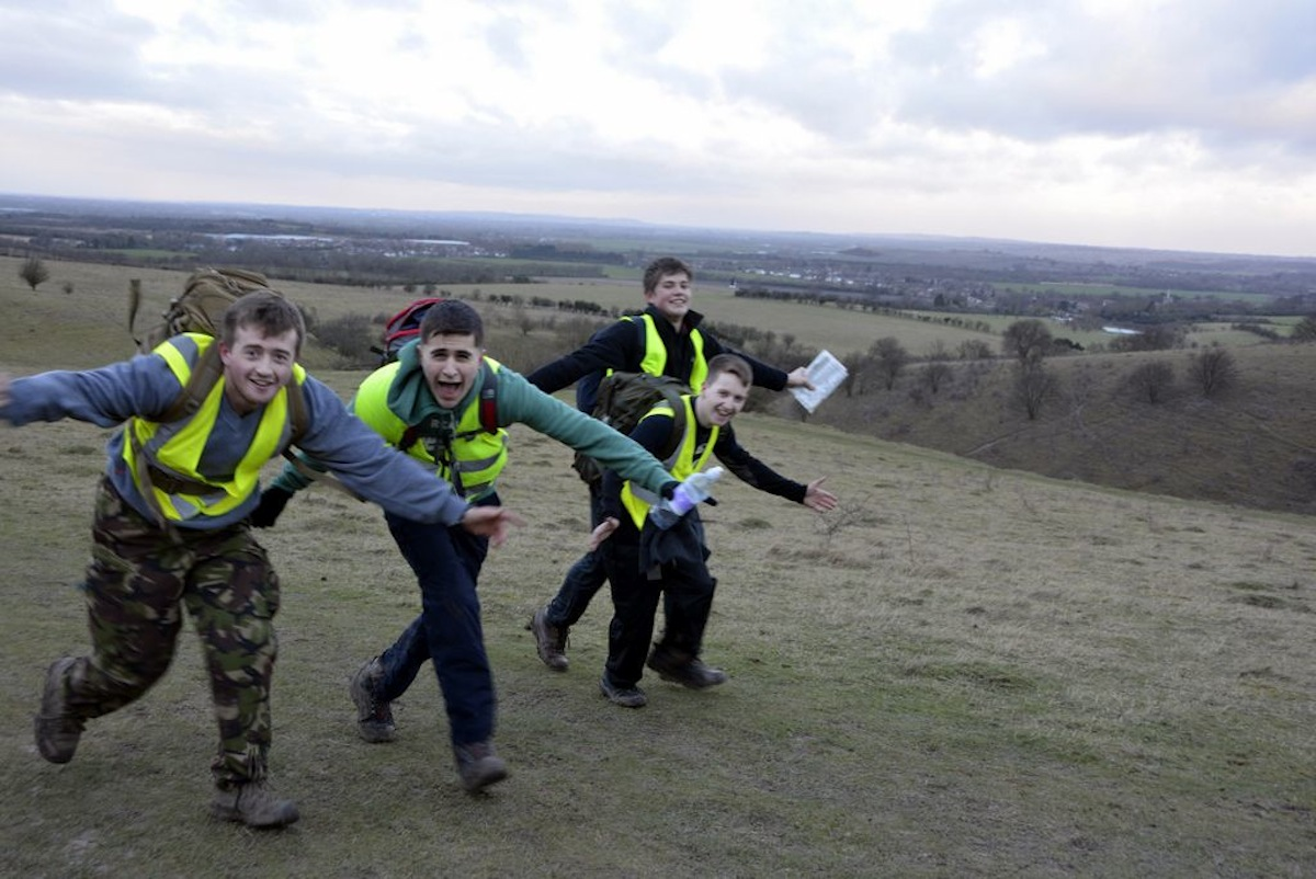 Scouts in hiking adventure