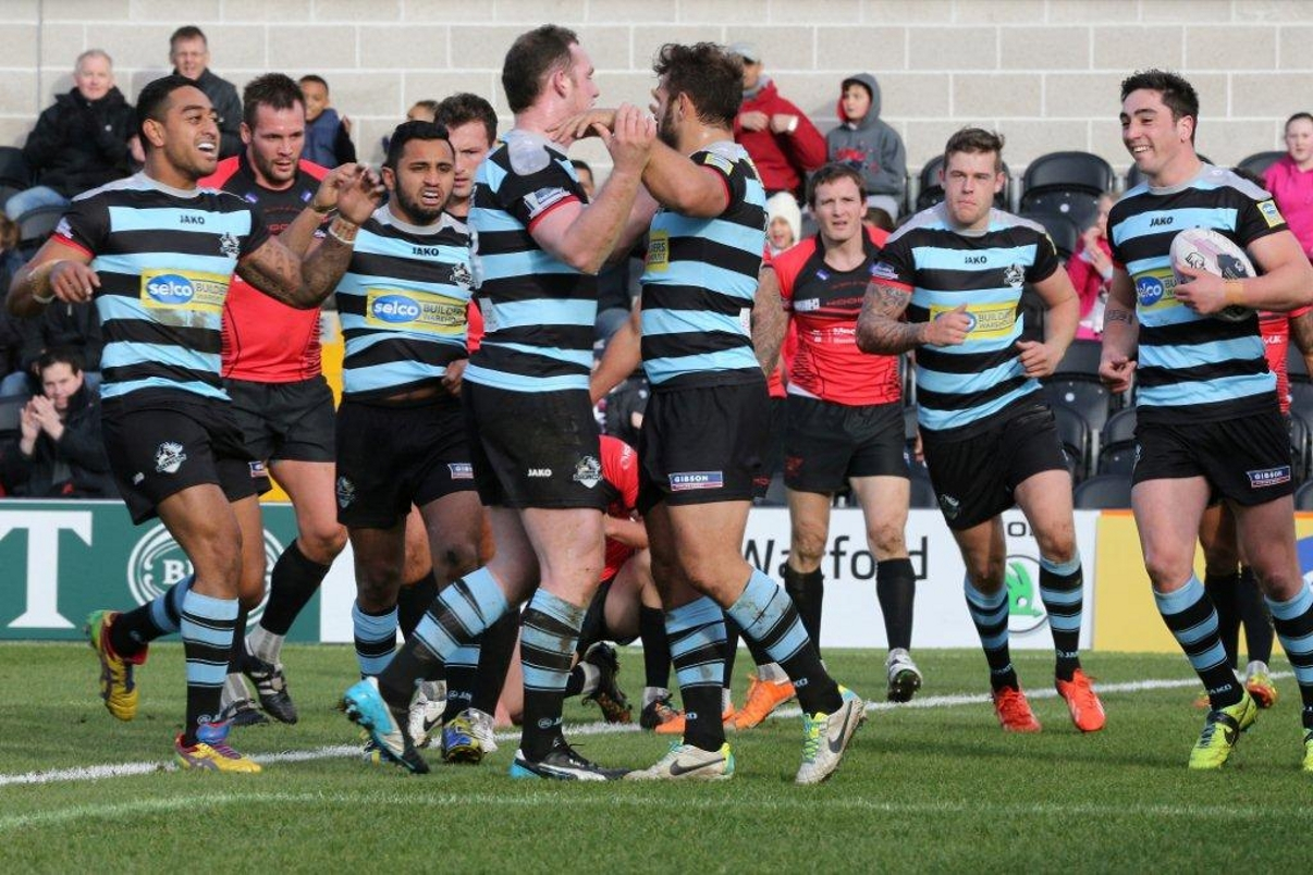 Broncos celebrated their first try at The Hive. Picture: Dave Peters