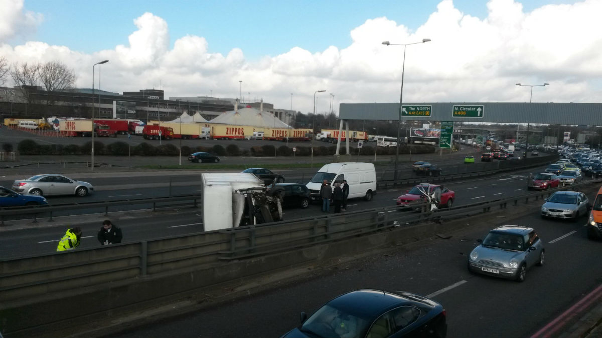 The white van was in collision with a car on the North Circular Road.