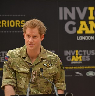 Prince Harry unveiling the Invictus Games, a Paralympic-style sporting championship for injured servicemen and women.