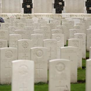 Times Series: Twenty soldiers were laid to rest at a service at the Commonwealth War Graves Commission Cemetery at Loos-en-Gohelle near Lens