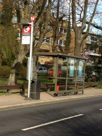 A bus stop in Fortis Green, East Finchley, where an elderly woman was sexually assaulted in March.