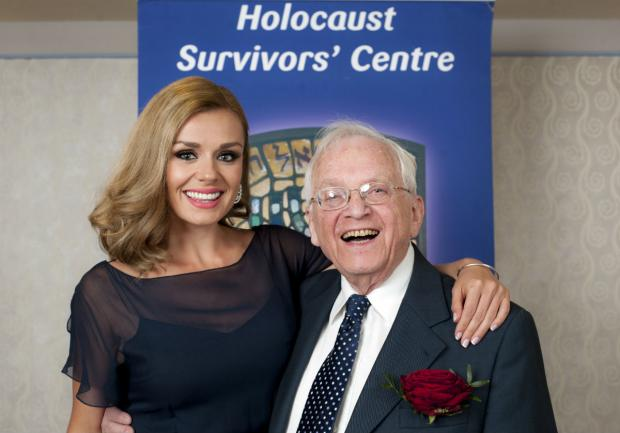 Katherine Jenkins with member of Jewish Care's Holocaust Survivors Centre, Freddie Knoller.