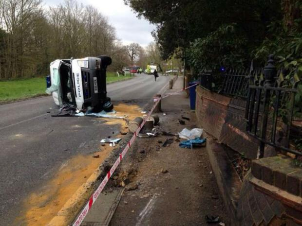 The van flipped onto its side in the collision with the 911 Boxster in Totteridge Lane
