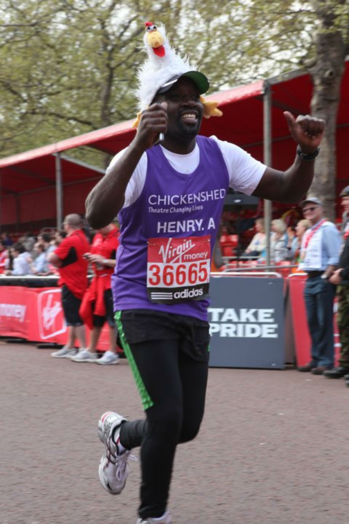 Mr Lutaaya has raised money for Chickenshed at the last two marathons