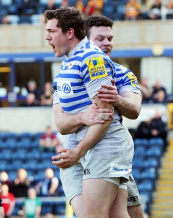 Alex Goode celebrates his try. Picture: Action Images