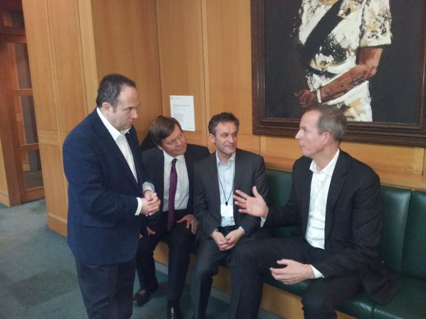 Hertsmere MP James Clappison Hertsmere Council leader Morris Bright, planning committee member Cllr Harvey Cohen and housing committee member Seaumus Quilty to Westminster to meet Planning Minister Nick Boles MP