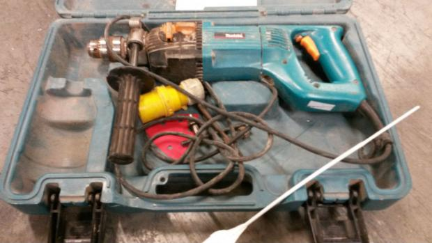 One of the power tools police recovered during the warrant.