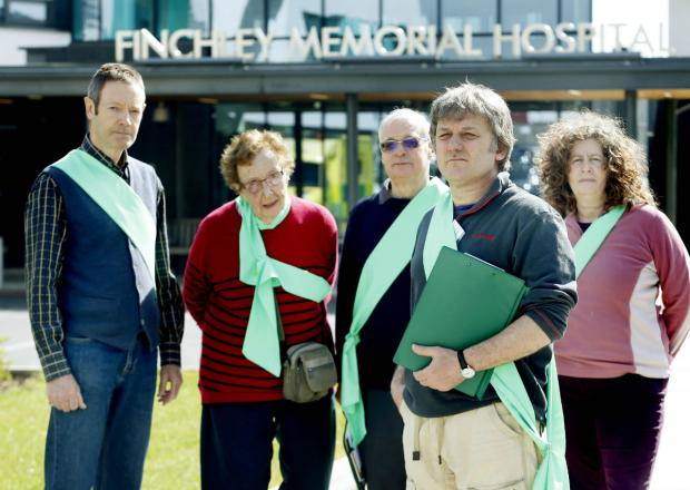 Mike Gee, chair of the Finchley Society's environment and transport committee, with a group of survey volunteers at Finchley Memorial Hospital.