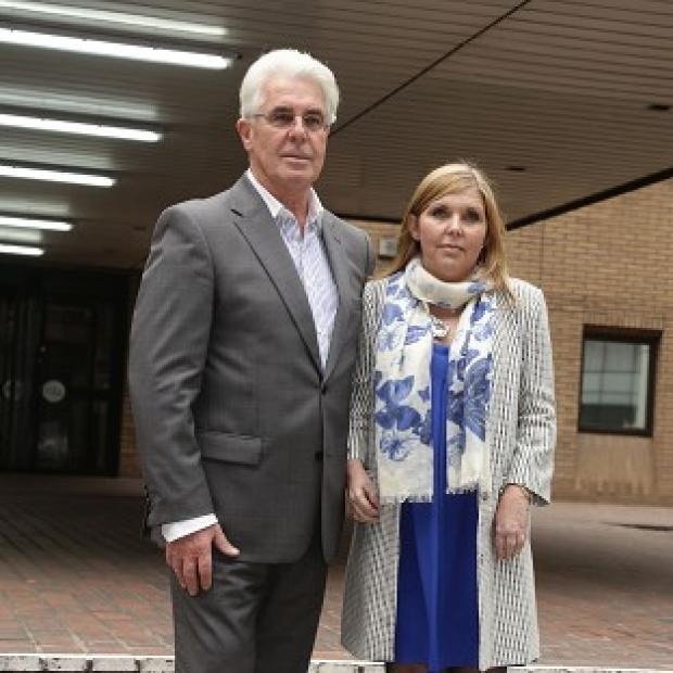 Times Series: Max Clifford and his daughter Louise Clifford outside Southwark Crown Court