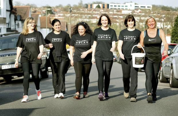 Times Series: L-R: Caroline Stevens, Zoe Hart, Kim Hall, Colette Brohan, Debbie Brohan and Amanda Tompkins who will all take part in this year's London to Brighton charity walk.