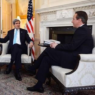 David Cameron, right, meets US secretary of state John Kerry at Downing Street