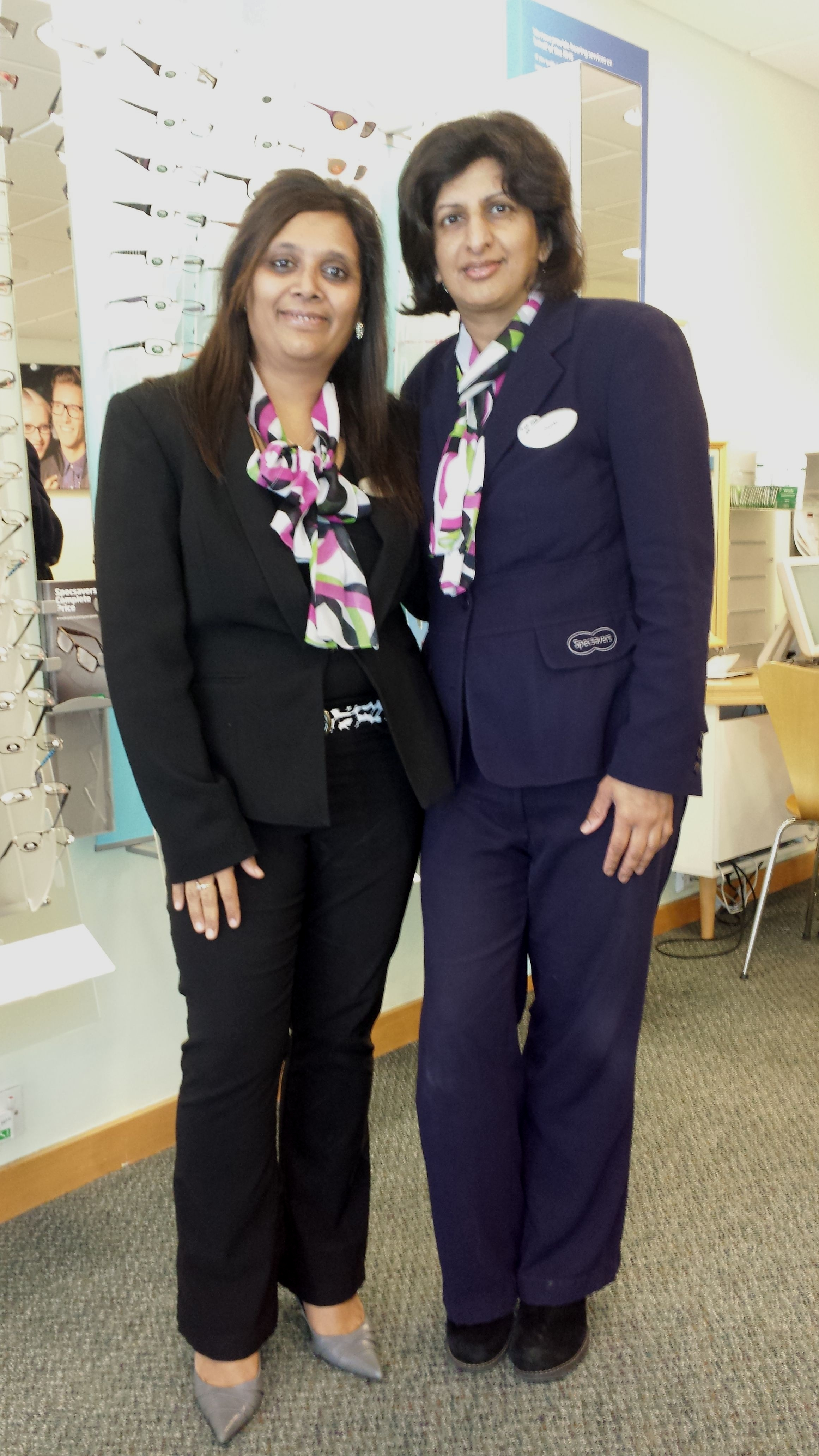 Pragna Raghwani, store director of Specsavers in Barnet, with Sajida Gitay, optical assistant and clinic coordinator.