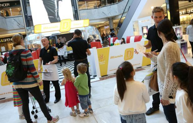 The pop-up Vitamin D-iner at Brent Cross Shopping Centre today.