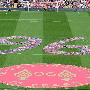 Fans' scarves make up a 96, filling the