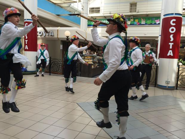 Morris dancers entertain shoppers at The Broadwalk Centre