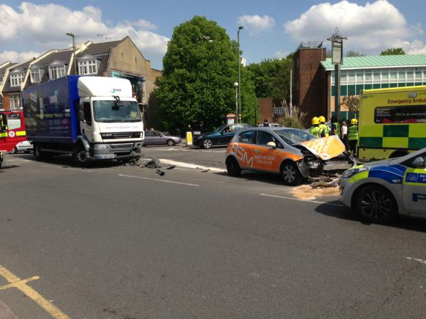 The lorry and learner car crashed at the junction bet