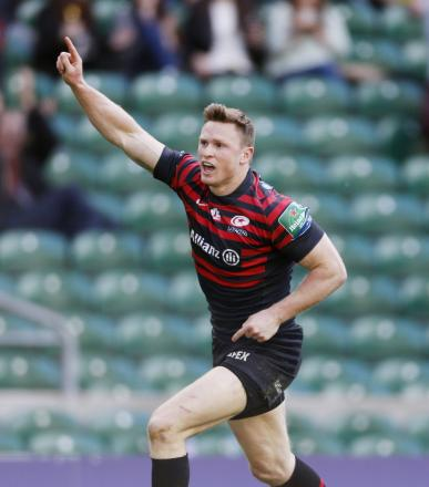 Chris Ashton scores Saracens' fifth try against Clermont to secure their Heineken Cup final place. Picture: Action Images