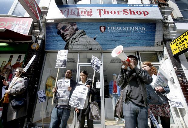 Gary McFarlane and other protesters outside Viking Thor shop