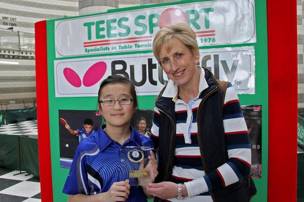 Times Series: Amelia Chan with her winner's plaque, presented by Sally Shutt, ETTA Coach Development Officer