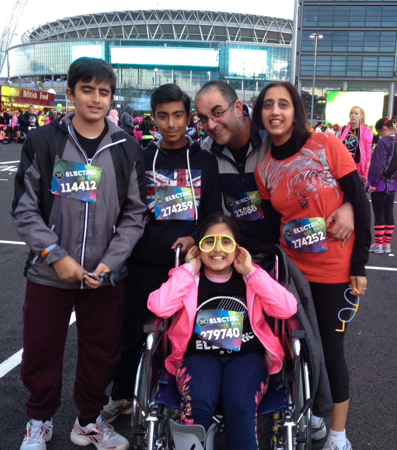 Rasia and her family at the race