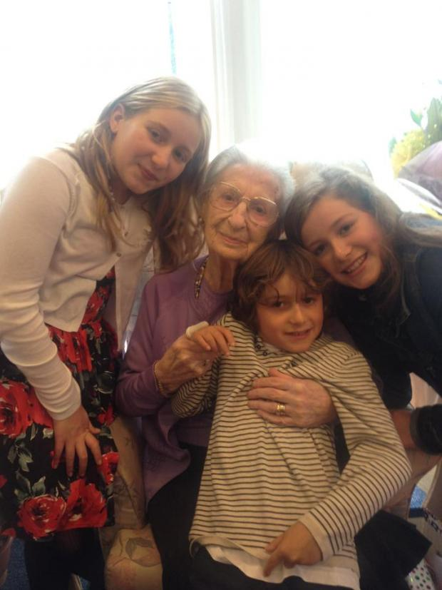 Times Series: Mrs Golding with her great grandchildren