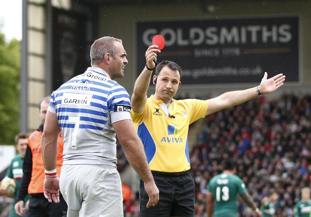 Times Series: Justin Melck is dismissed at Welford Road. Picture: Action Images
