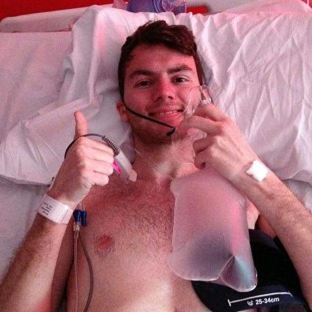 Times Series: Stephen Sutton, 19, has told his supporters via Facebook that he is back in hospital
