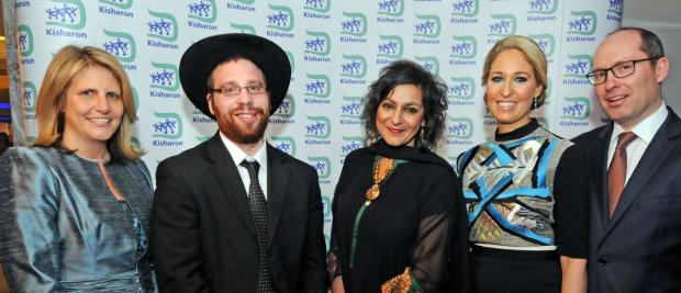 Kisharon CEO Dr Beverley Jacobson, Chaim Dovid Rotenberg, who is supported by the charity, Meera Syal MBE and Judi and Yossi Bauernfreund who chaired the gala dinner (photo: John Rifkin)