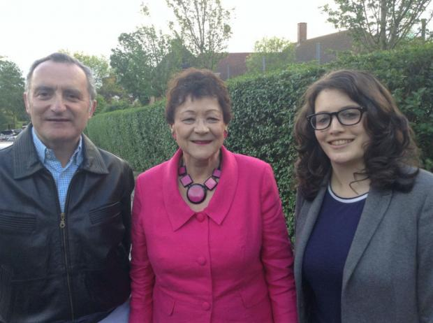 Liberal Democrat candidates Jonathan Davies and Charlotte Henry with MEP Sarah Ludford (centre).