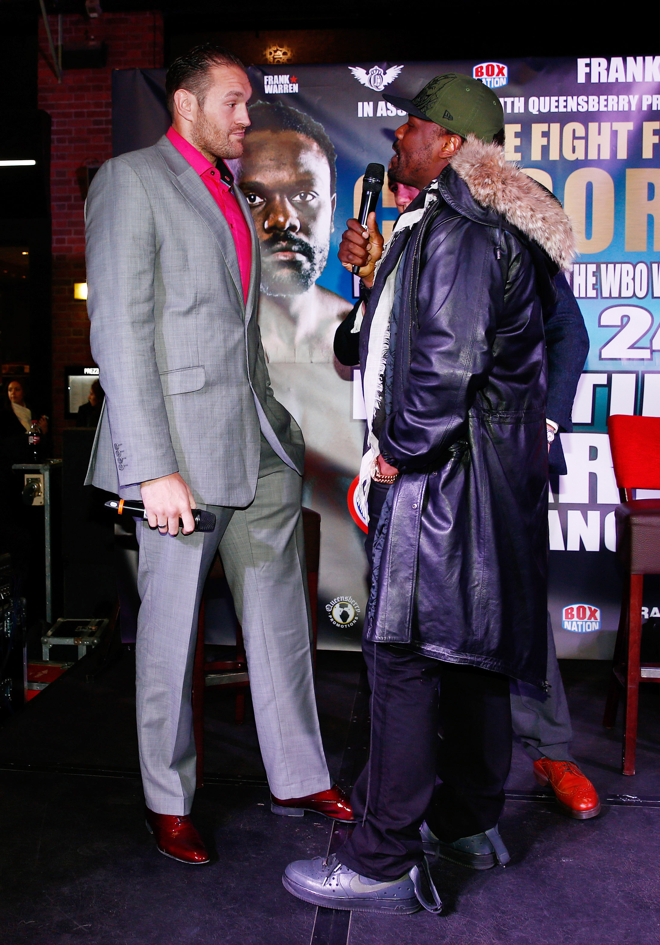 Dereck Chisora and Tyson Fury square-off. Picture: Action Images