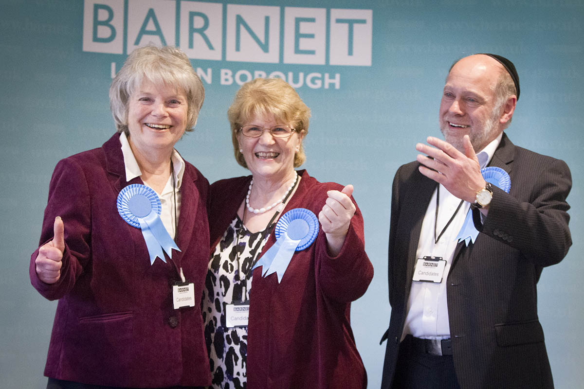 Councillors Helena Hart, Joan Scannell and Brian Gordon celebrating their win
